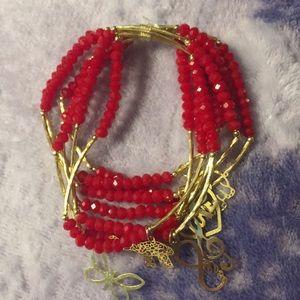 Jewelry - Artesanal Crystal Bracelet7) w/18kt plated Charms